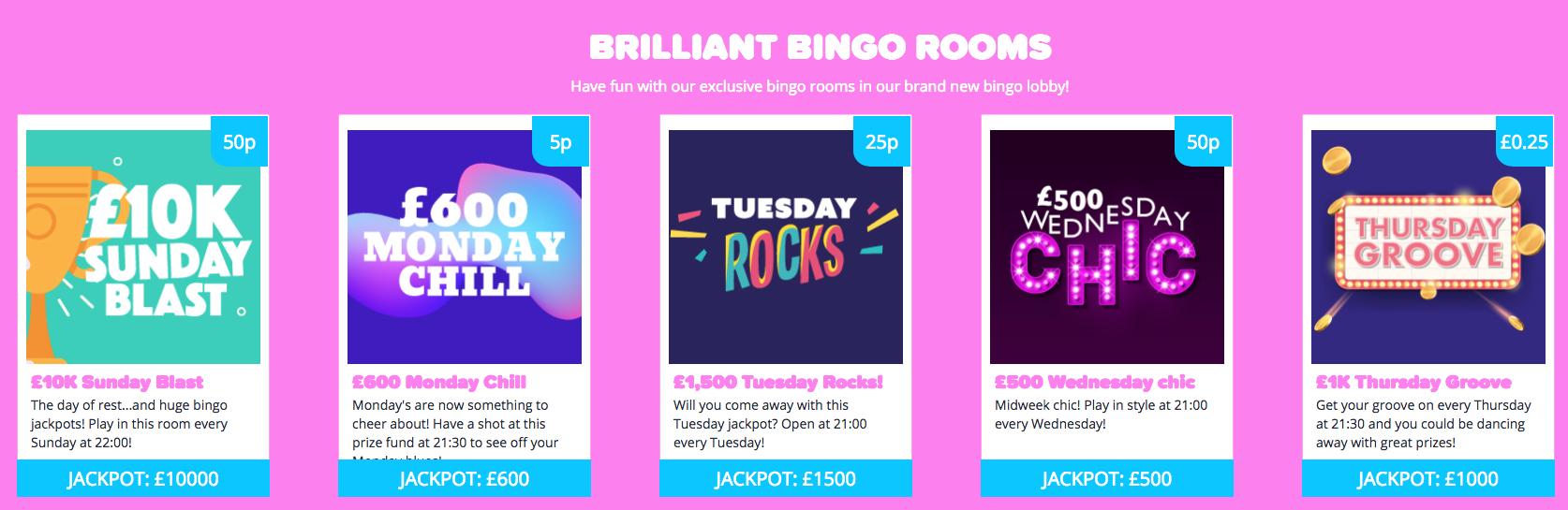 YAY Bingo Jackpot rooms